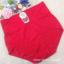 OEM China new red elegant classic high-waist underwear jacquard plus size bottom uplift panty fat woman briefs